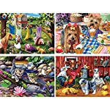 Bits and Pieces - Set of Four (4) 300 Piece Jigsaw Puzzles for Adults - Adorable Baby Animals - 300 pc Widlife Jigsaws by Artist Brook Faulder