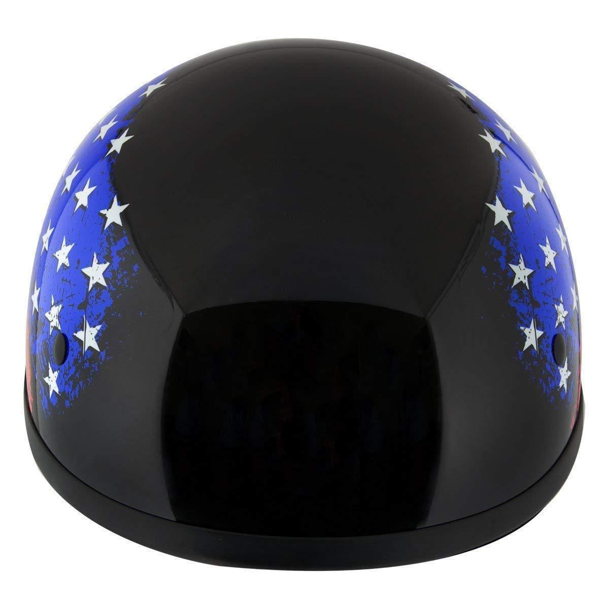 Hustler DOT HT-1 Flag Black Glossy Motorcycle Skull Cap Half Helmet Large