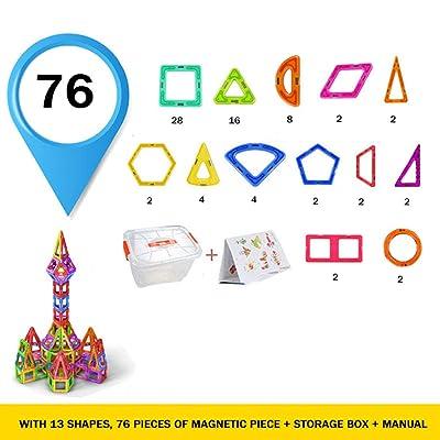 QPP-CL Juego De Construcción De Bloques Magnéticos para Niños, Juego De Construcción Educativa Preescolar De Azulejos Magnéticos Juguetes,76PCS: Deportes y aire libre