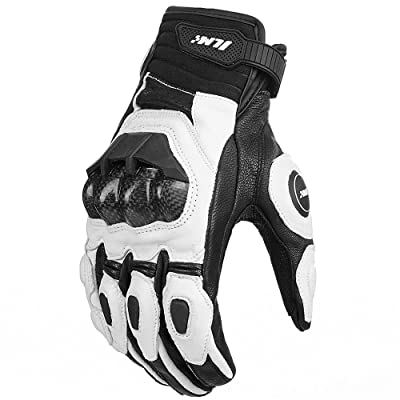 ILM Air Flow Leather Motorcycle Gloves for Men and Women (M, White): Automotive
