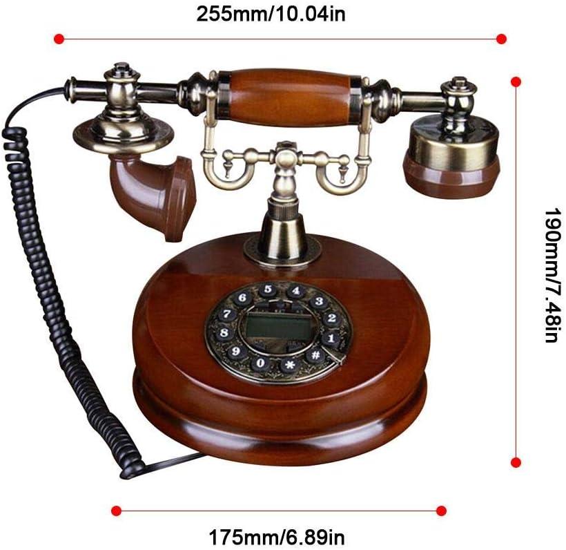 Alacritua Retro Telefon Klassischem Retro Telefon Mit W/ählscheibe In Geschwungenem Mit Klingel,Massivholz Villa Telefon