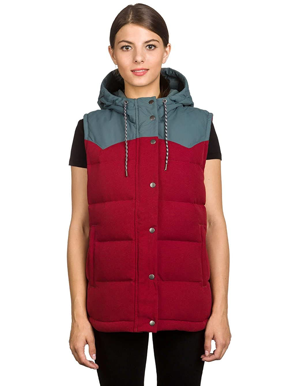 18c7e8039 Patagonia Women's Bivy Down Hooded Vest Drumfire Red 27746 DRMF ...