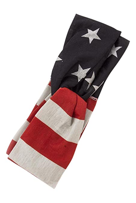 Vintage Scarves- New in the 1920s to 1960s Styles USA American Flag Womens Patriotic American Flag Campus Elastic Headband (Knot) $13.00 AT vintagedancer.com