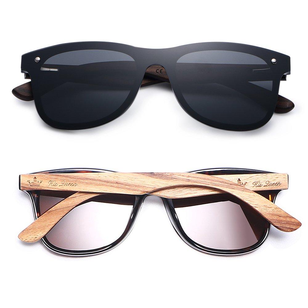 wood wayfarer polarized sunglasses, 2 pack sunglasses 1 set,luxury brand designer sun glasses for men women, her king his queen for lovers
