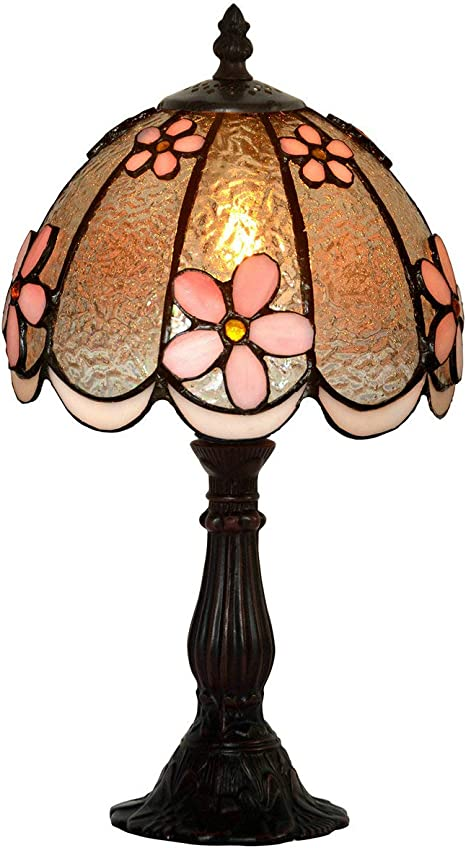 Ht Tiffany Styled Pink Flower Accent Table Lamps 8 Inch Stained Glass Shade Alloy Base Night Light For Bedrooms Living Room Bedside Desk Amazon Com