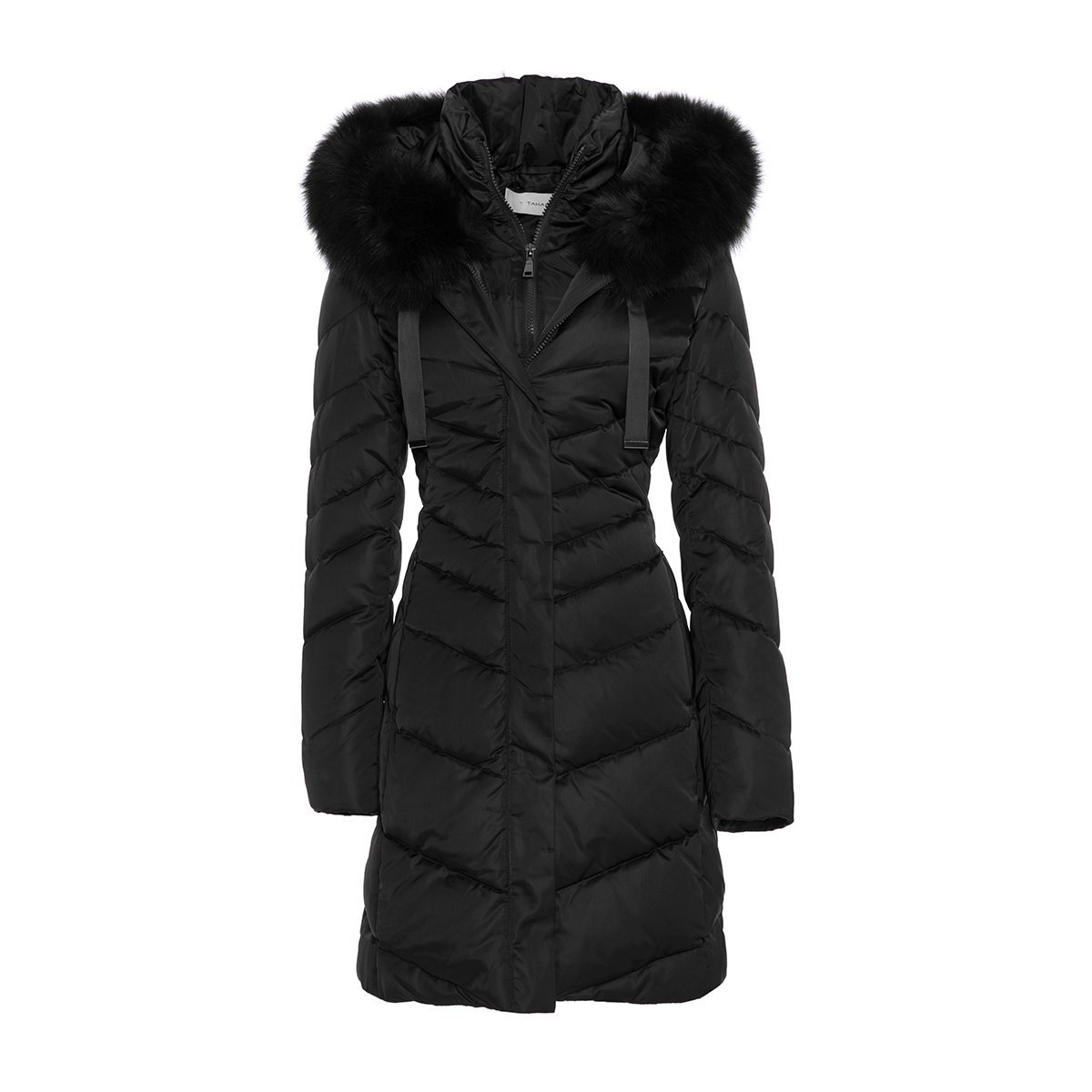 T Tahari Jolene' Real Fur Down Jacket (Medium, Black)