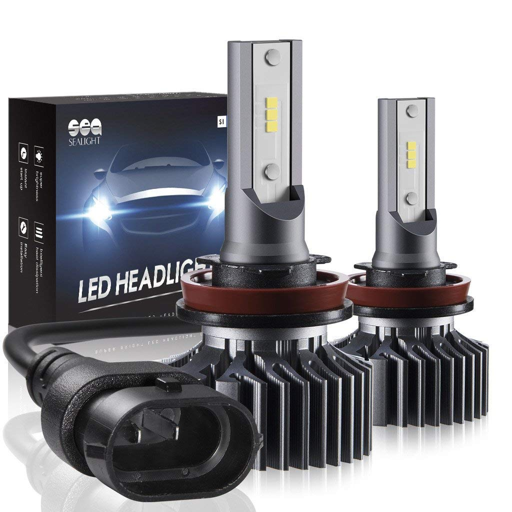 H11/H8/H9 LED Headlight Bulbs Conversion Kit, SEALIGHT S1 Series 12x CSP Chips Low Beam/Fog Light Bulb- 6000LM 6000K Xenon White