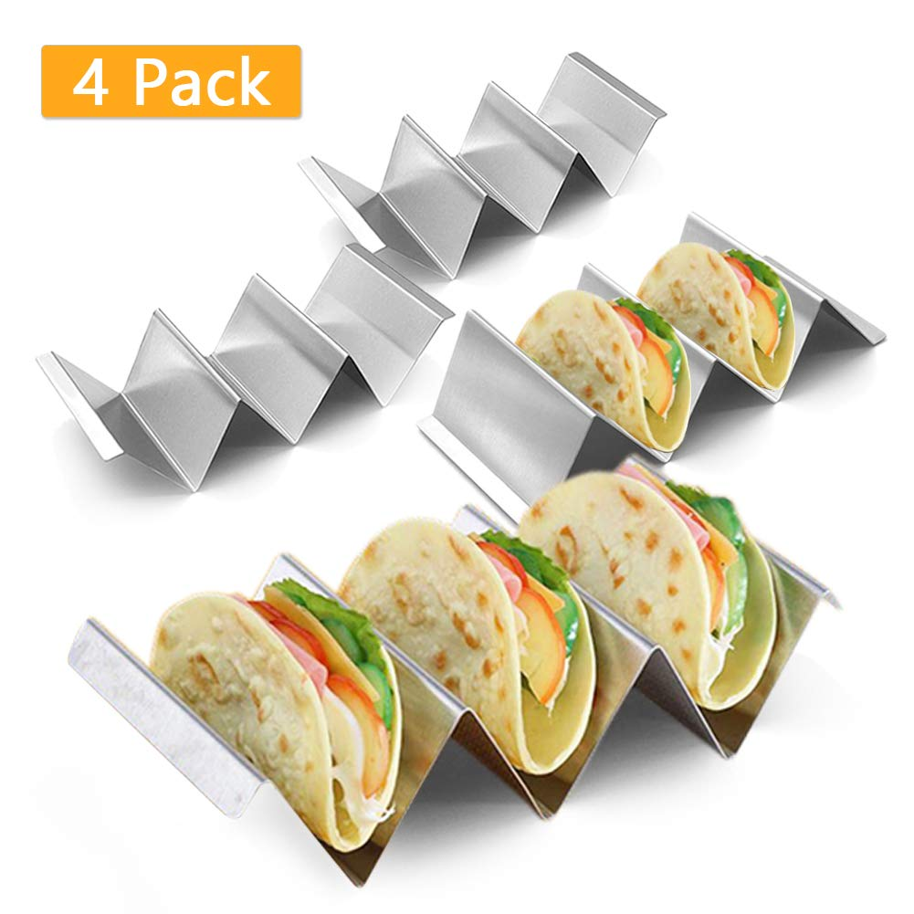 4pcs/set Taco Holder Stand, Stainless Steel Taco Truck Tray Style, Mexican Food Taco Rack Shells, Each Rack Holds Up to 3 Tacos, Oven Safe, Dishwasher and Grill Safe for Baking by Hinmay