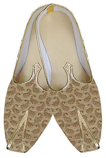 Mens Beige Brocade Shoes Paisley Style MJ0020