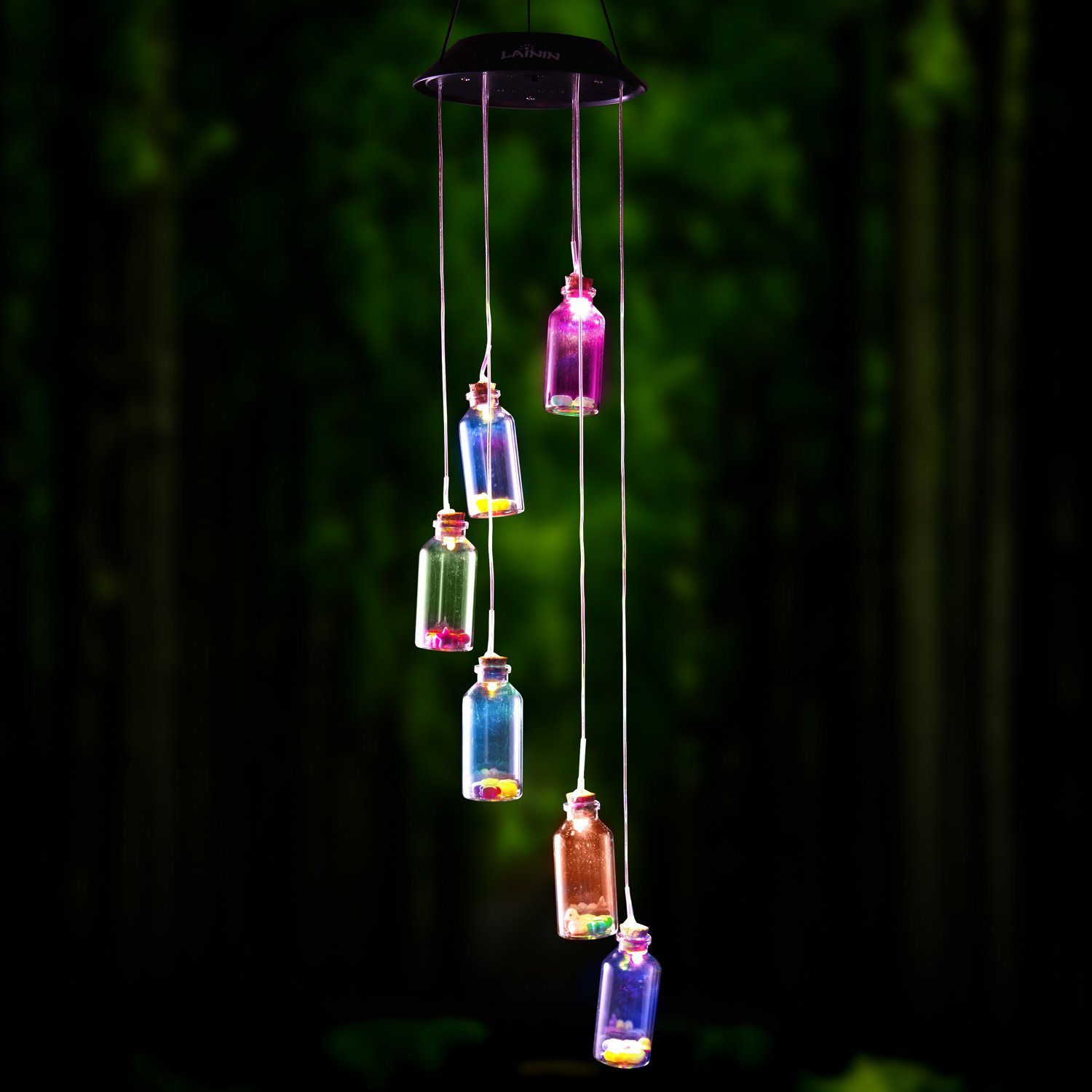 Novadeal Color Changing Solar Wind Chime Wishing Bottle Solar Hanging Night Light Mobile by Novadeal