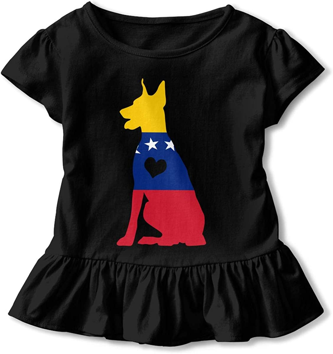 26NSHIRT Venezuela Flag Adore Dobermans Dog Girls Short Sleeve Peplum T-Shirt