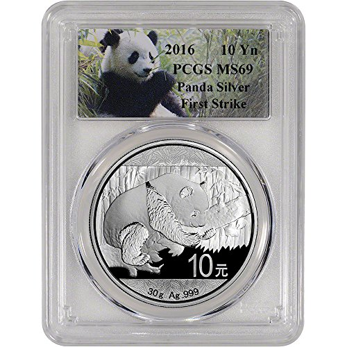 2016 CN China Silver Panda (30 g) First Strike Panda Label 10 Yuan MS69 PCGS
