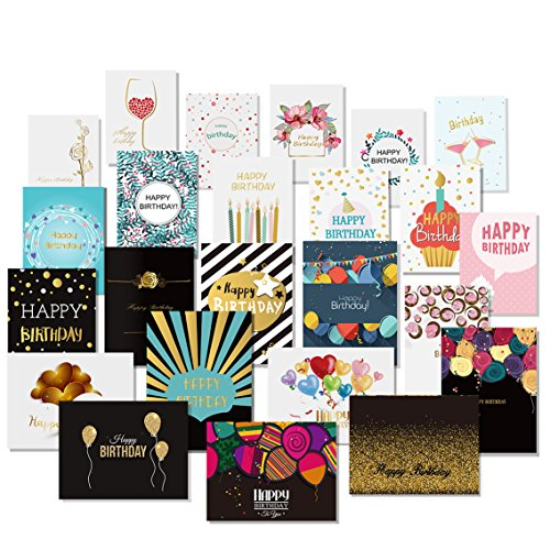 Happy Birthday Cards with Gold Embellishments Design and 26 Envelopes - Unomor 24 Birthday Greeting Cards Assorted - 18 Birthday Wishes Printed -