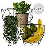 Wire Basket Wall Mount - Farmhouse Fruit Basket Set (of 2) for Using as Fruit or Produce Basket, Wall Planter, Wall Organizing Unit or Wire Baskets for Pantry