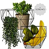 wall basket - Wire Basket Wall Mount - Farmhouse Fruit Basket Set (of 2) for Using as Fruit or Produce Basket, Wall Planter, Wall Organizing Unit or Wire Baskets for Pantry