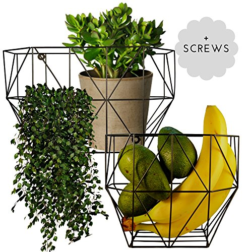 2 Wall Mount Wire Baskets - Scandinavian Geometric Style Organizers for Kitchen (eg Wall Fruit Baskets) or Living Space (eg Potted Plants and Flowers). Cute small storage. Screws included.