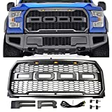 F-150 Grill Grille Raptor Style with Letters F R and LED Lights - Conversion Packaged - Compatable with Ford F150 2015-17 (Dark Gray)