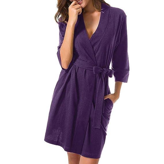 STRIR Mujer Batas Kimono Algodón Camisón Encaje Pijama Túnica Ropa de Dormir (S, Púrpura