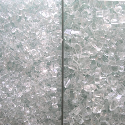 Fire Glass Clear with slight aqua tint, 2 Kinds: Medium & Extra Large, 50 LBS For Sale