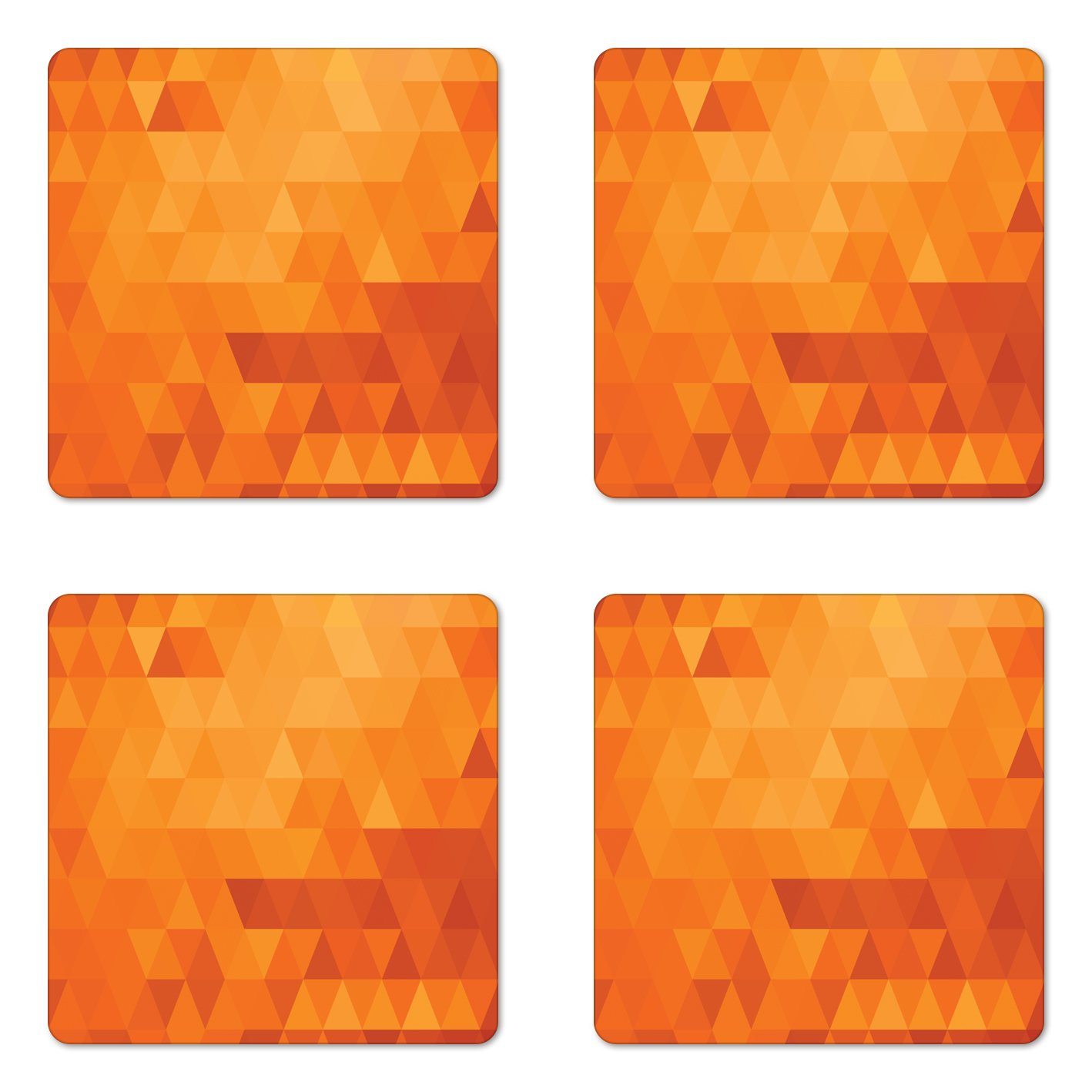 Ambesonne Orange Coaster Set of Four, Triangle Mosaic Shapes and Patterns Abstract Digital Pixel Decorative Home Print, Square Hardboard Gloss Coasters for Drinks, Burnt Orange
