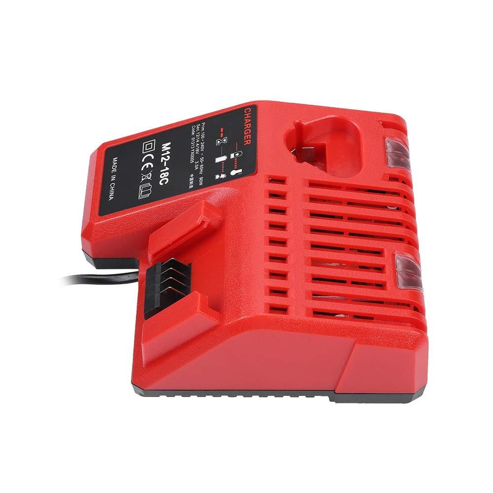 BTIHCEUOT Cargador de bater/ía de Litio con Herramienta de reemplazo de Fuente de alimentaci/ón Inteligente para M12-18C M18 12V-18V Enchufe de la UE