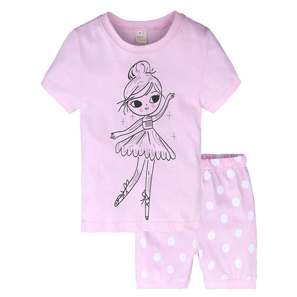 Summer Pajama Sets For Kids Girls,Baby Girls Cotton Tee Tops + Pajama Pants Girls Homewear Set(Pink,6 Years)