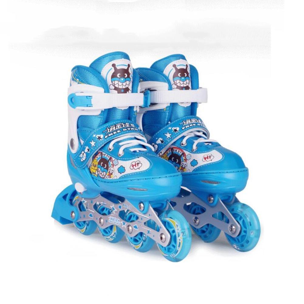 ZZY Fila singolaPattini a rotelle Niños Flash Patines de una Sola Fila de Tamaño Ajustable Patines de Ruedas Quad Boots Conjunto de Patinaje con la Rodilla/Codo/Guardia/Sombrero, Blue, S