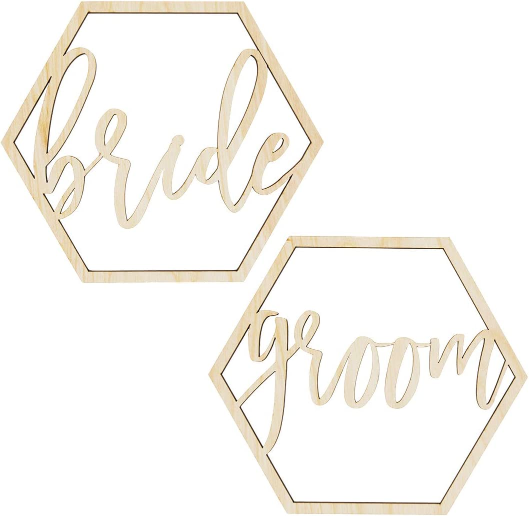 Koyal Wholesale Wood Sign, Wedding Display, Party Banner, Event Decorations (Bride & Groom Hexagon)