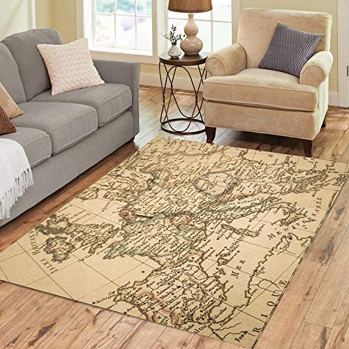 Pinbeam Area Rug Italy Antique Old Map Europe France Spain Mediterranean Home Decor Floor Rug 3' x 5' Carpet