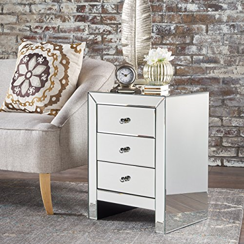 Great Deal Furniture 301749 Lucille Mirror Finished 3 Drawer Accent Table, Clear