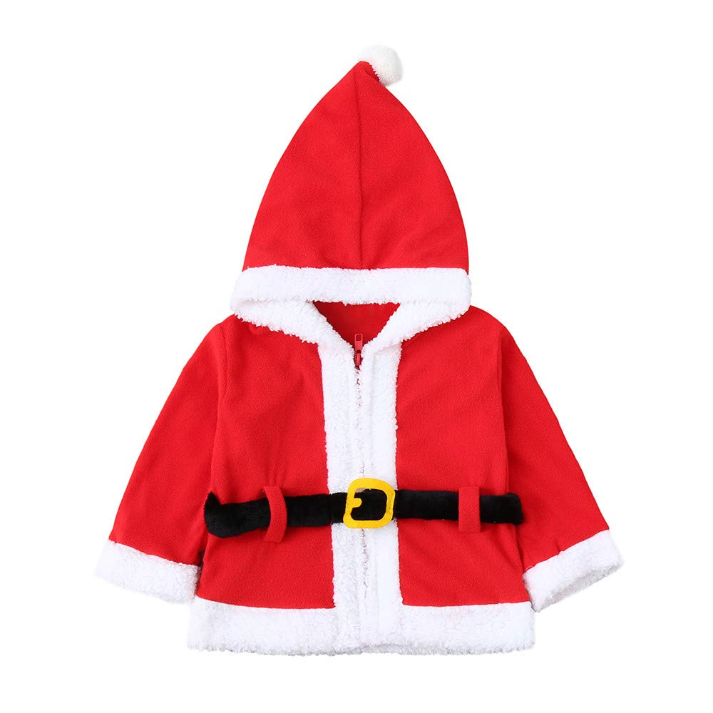 Toddler Baby Girls Boy Christmas Clothes Fleece Hooded Coat Infant Long Sleeve Pullover Tops Outfits Newborn Gifts 1-4 Years