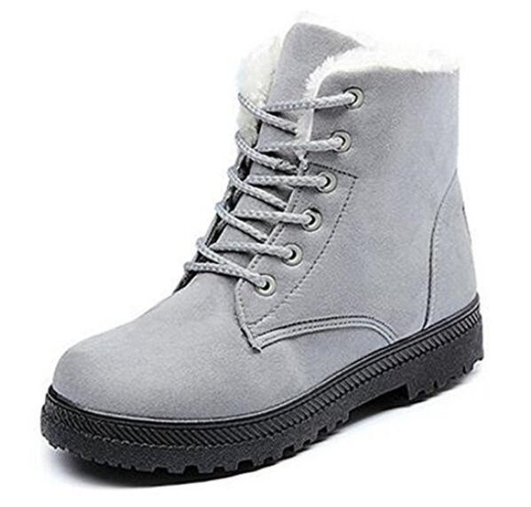 DADAWEN Women's Suede Waterproof Lace Up Winter High Top Snow Boots Gray US Size 8