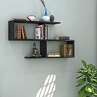 Klaxon S Shape Book Shelf/Wall Shelf and Storage Unit | Display Unit (Black)