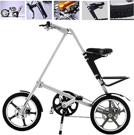 H&J Bicicleta Plegable, Cuadro de Aluminio de 16 Pulgadas, Bicicleta Urbana, Sistema de Plegado rápido, Frenos de Disco mecánicos Delanteros y Traseros (23.1 lbs): Amazon.es: Hogar