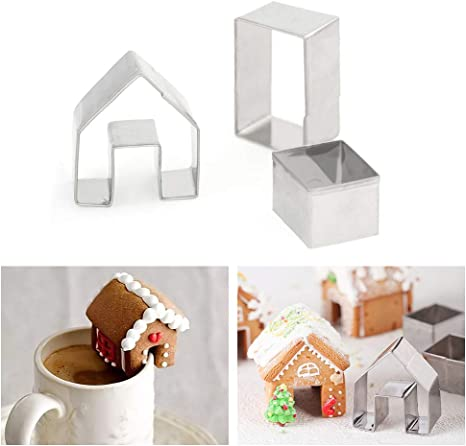 3PCS Stainless Steel Cutter Set House Mini Mold Mould Cookie Gingerbread