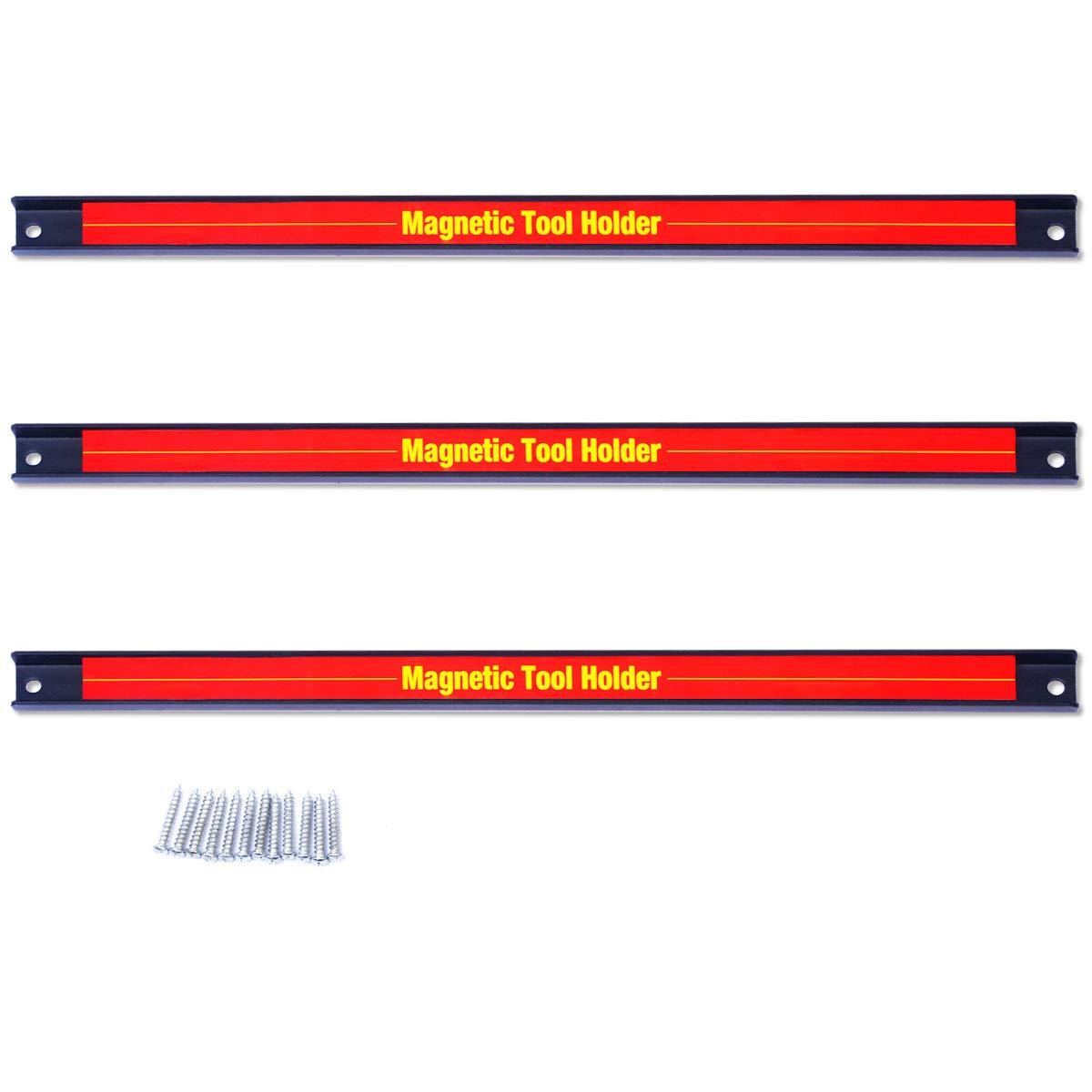 Goplus 3 PCS 18 Magnetic Tool Holder Bar Organizer Storage Rack Knife Wrench Pilers