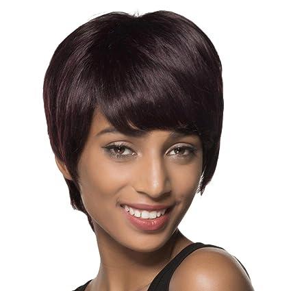 Culater Pelucas cortas naturales del pelo, Cabello humano mezclado con fibra sintética