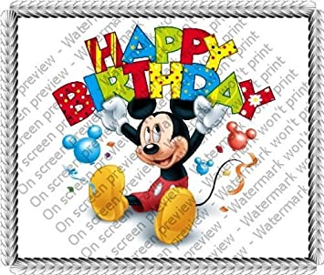 1/4 Sheet ~ Mickey Mouse Happy Birthday Banner Birthday ~ Edible ...