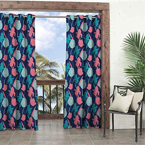 Linhomedecor Garden Waterproof Curtains Floral Tulip Poppy and Iris Bloom Classical Corsage Feminine Theme Coral Night Blue and Pale Blue doorways Grommet Party Curtain 120 by 96 inch