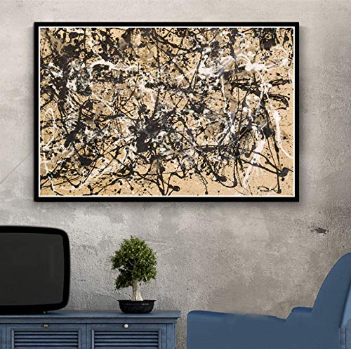 QINGRENJIE Famoso Pintor Jackson Pollock Abstracto Pintura Moderna Artista Cartel Impresiones Pintura al oleo Lienzo Arte Pared Cuadros para Sala de Estar decoracion del hogar 50x70 cm sin Marco