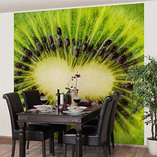 Apalis Vliestapete Küchentapete Kiwi Heart Fototapete Quadrat, größe, 240 x 240 cm, grün, 97772