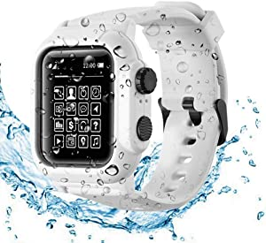 Compatible Apple Watch Series 6 /SE/5/4 Waterproof Case , Tomcrazy IP68 Full Sealed Shockproof Cover with Soft Silicone Sport Band Watchstrap Protective Case for iwatch 44mm (White)