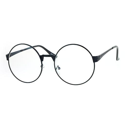 c1c62714e0 SA106 Victorian Medieval Engraving Metal Round Circle Flat Lens Eye Glasses  Black