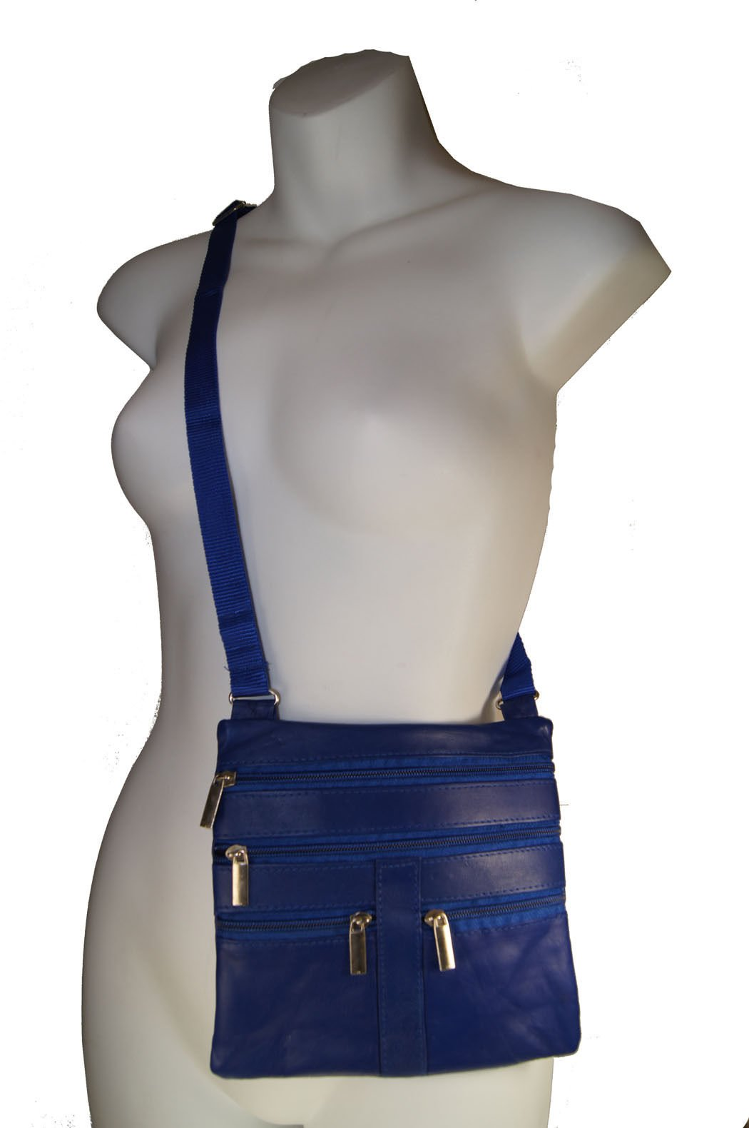 Royal Blue Ladies Genuine Leather Cross Body Bag Satchel Messenger Bag 48'' Strap