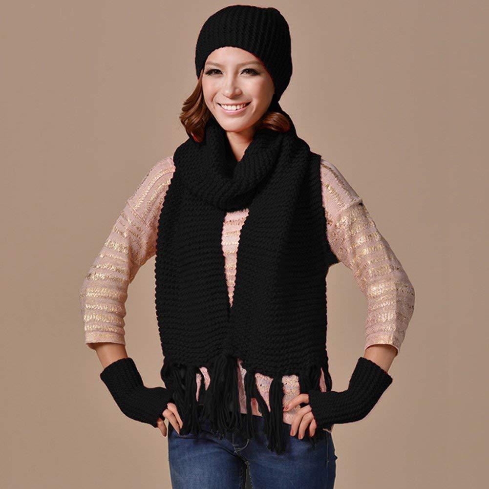 WLG Mütze Schal Und Handschuhe Winter Set Strickmütze Ski Beanie Cap Warm Unisex Komfortabel