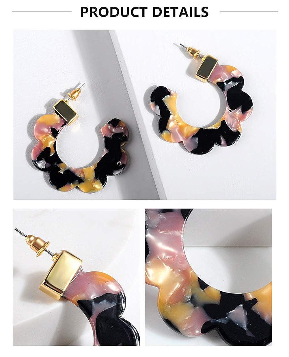 Acrylic Acetate Flower Earrings-Resin Mottled Tortoise Shell Lightweight Hoop Earrings for Women Girls