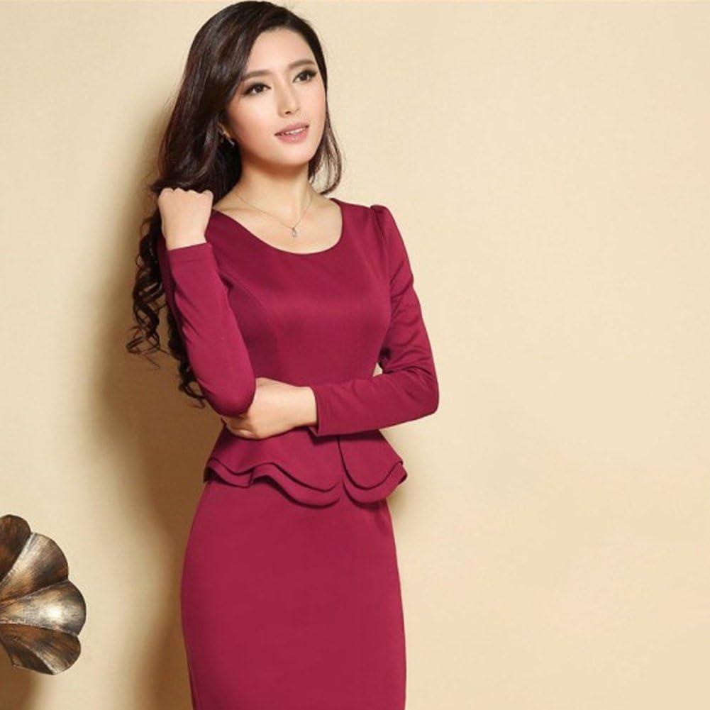Locomo Elegant Scoop Neck Peplum Mini Skirt Bodycon Office Dress FFD090BLUL