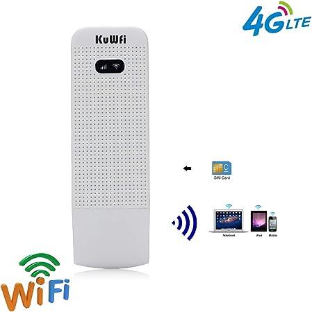 KuWFi LTE Surfstick, Tragbarer 4G-SIM-Dongle mit SIM-Kartensteckplatz-Unterstützung FDD B1 / B3 / B5 / B7 / B8 / B20 im Außen- und Innenbereich für ...