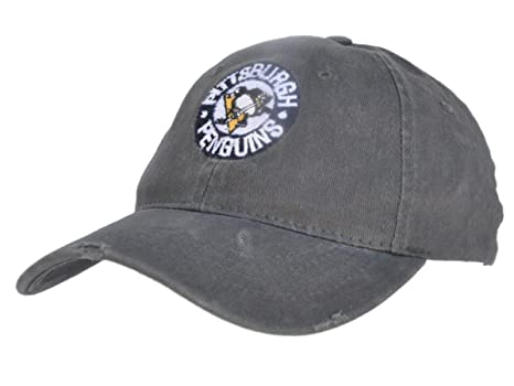 5864271be9fad Retro Pittsburgh Penguins Brand Charcoal Gray Worn Flexfit Slouch Hat Cap  (S M)