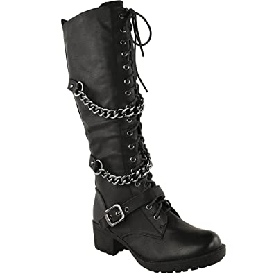 Image result for Fashion Thirsty Womens Knee High Mid Calf Lace Up Biker Punk Military Combat Boots Shoes Size